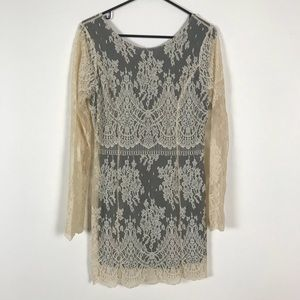 FREE PEOPLE Ivory lace dress black Sz s